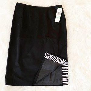 NEW Le Suit Black Pencil Skirt Zebra Slit